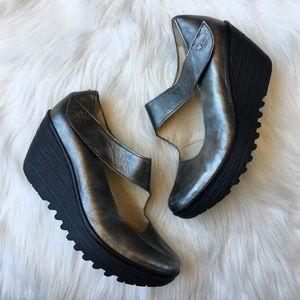 Fly London Yasi Leather Wedge Heel Mary Jane 38